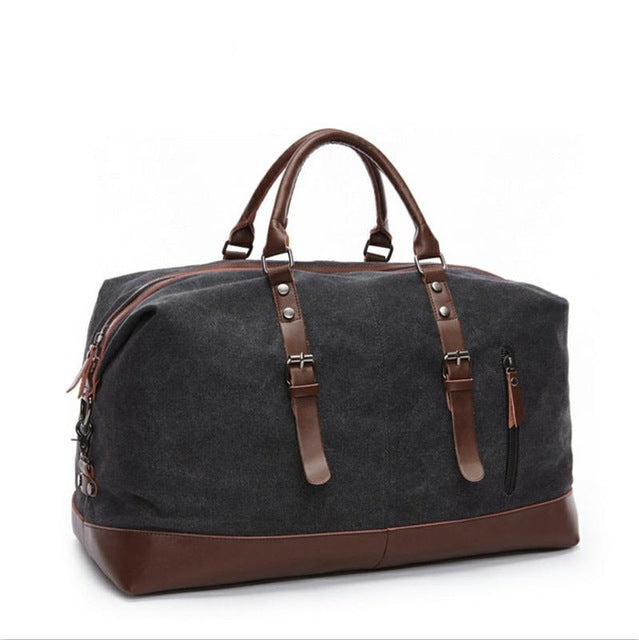 FUSHAN Canvas Leather Men Travel Bags Carry on Luggage Bags Men Duffel Bags Travel Tote Large Weekend Crossbody Bag Overnight - leathernbags