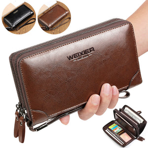 New Business wallet Clutch Coin pocket purse Casual portfolio Passport wallets Large capacity multi-card bit high quality wallet - leathernbags