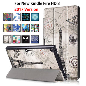 For Amazon  New Kindle Fire HD 8 Case Painted Print PU Leather Stand Smart Sleep Cover Funda For kindle fire hd8  new