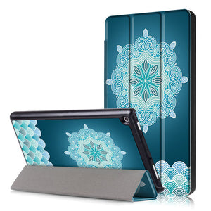 For Amazon  New Kindle Fire HD 8 Case Painted Print PU Leather Stand Smart Sleep Cover Funda For kindle fire hd8  new - leathernbags