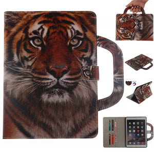 Fashion painted Cover For Apple iPad Air 2 iPad 6 Smart Case Funda handbag Cat Dog Tiger Animal painted PU Leather Stand Shell - leathernbags