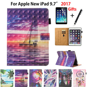 3D Colorful Case For Apple New iPad 9.7 2017 A1822 Smart Case Cover Funda Tablet Fashion Cartoon PU Leather Stand Shell+Film+Pen - leathernbags