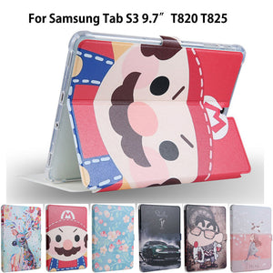 Fashion PU Leather Case For Samsung Galaxy Tab S3 9.7 T820 825 Smart Case Cover Slim Protective Stand Funda Tablet Sleep/Wake up - leathernbags