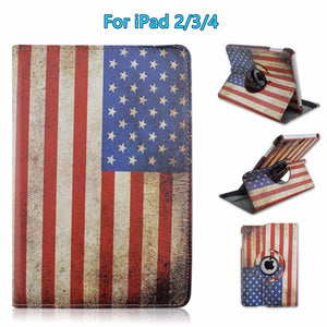 "For iPad 2/3/4 9.7"" Retro Look Printed Flip PU Leather Stand Case Protective 360-Degree Rotating Cover with Auto Sleep / Wake"