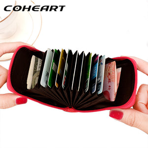 COHEART Genuine Leather Card Wallet Women 100% real cowhide top quality women's purse female credit card holders small wallet ! - leathernbags