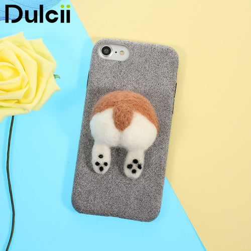 DULCII for iPhone 7 Case for iPhone 8 3D Dog's Tail Microfiber Coated Hard PC Phone Cover Capas for Apple iPhone 7 Shells Fundas
