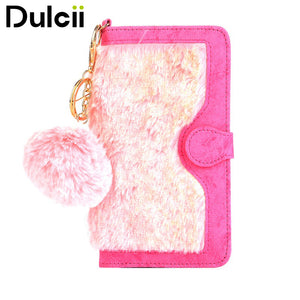 DULCII for Apple iPhone 7 Plus Case Removable Leather Wallet Phone Cover for iPhone 7 Plus Shell with Warm Rabbit Fur Decoration