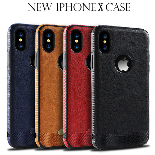 Business PU Leather Case For Apple Iphone X 6S 7 8 Plus Case Soft Simple Elegant Protective Back Cover For IphoneX 8 7 7Plus 6S