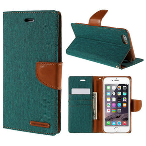 For iPhone 6 Plus Case Luxury MERCURY GOOSPERY Canvas Diary Leather Cover Case for iPhone 6s Plus / 6 Plus Plus with Stand - leathernbags
