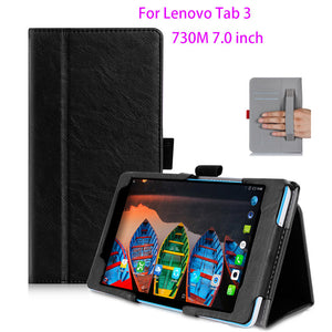 Protective Leather Case For Lenovo Tab 3 730M 730F 730X 7 inch Case Cover For TB3-730F TB3-730M Tablet WIth hand Holder Shell