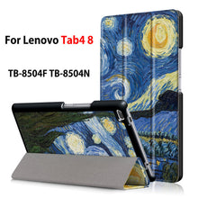 "Case For Lenovo Tab4 8 TB-8504X TB-8504F TB-8504N 8"" Smart Cover Funda Tablet PU Folding Slim Flip Stand Skin Case +Film+Pen - leathernbags"