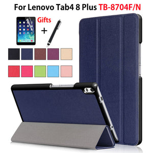 Cover Case For Lenovo Tab4 8 Plus TB-8704X TB-8704F TB-8704N Smart Cover Funda Tablet PU Leather Flip Stand Skin Shell +Film+Pen