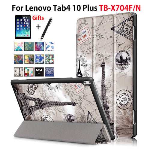 Case For Lenovo TAB4 Tab 4 10 Plus TB-X704L TB-X704N TB-X704F Smart Cover Funda Tablet Sleep Wake PU Folding Stand Case+Film+Pen