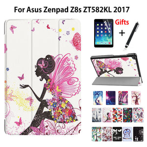 "Cover Case For Asus Zenpad Z8s ZT582 ZT582KL 7.9"" Smart Case Funda Tablet Released PU Folding Slim Stand Shell +Film+Pen"