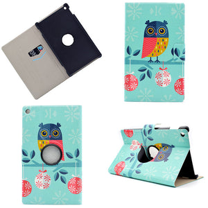 New 360 Degree Rotation Case For Amazon New Kindle Fire HD 8 HD 8  Cover Tablet Print Stand PC+PU Leather Rotatable Funda