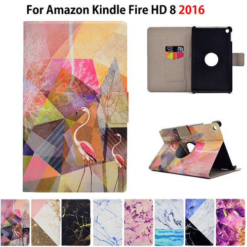 Marble Pattern eBook Case For Amazon New Kindle Fire HD 8  6th Generation 8 inch Smart Cover Tablet Stand PU Leather Funda