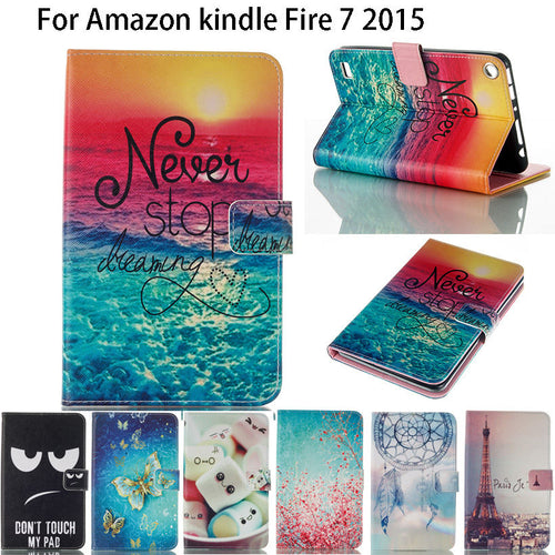 Kindle Fire 7 Case  Fashion Painted PU Leather Silicone Funda Tablet Flip Stand Case Cover For Amazon Kindle Fire 7 inch