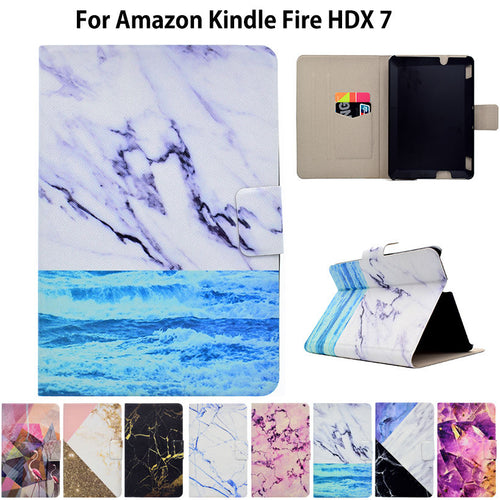 Marble Pattern eBook Case For Amazon Kindle Fire HDX 7 HDX7 7 inch Smart Cover Tablet Stand Ultra Slim PU Leather Funda Shell