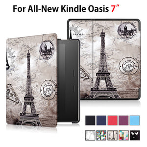 "Case For All-New Kindle Oasis E-reader 7"" Smart Cover Stand Auto Sleep Painted Print Flip PU Leather Funda Skin Shell"