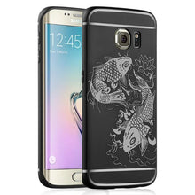 Full Protection For Samsung Galaxy S7 / S7 edge / S6 / S6 edge Case Back Cover Lucky Fish Relief Anti-knock Armor Silicon Funda - leathernbags