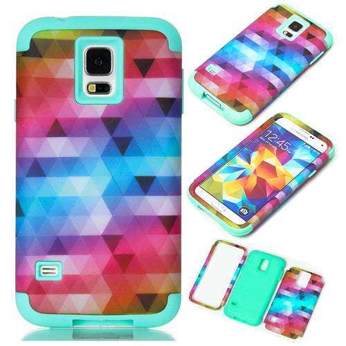 3-in-1 Phone Cases For Samsung Galaxy S5 i9600 Hard & Soft Rubber Hybrid Armor Case Cover w/Screen Portector Film+Stylus Pen - leathernbags