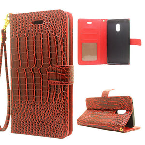 For Nokia 6 Case High Quality Crocodile Texture Card Slots Wallet Leather Flip Cover Case For Nokia6 Nokia 6 - leathernbags