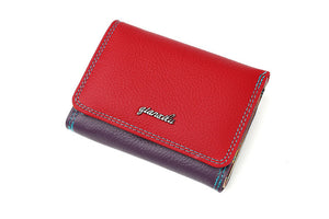 New Brand Genuine Leather Ladies Wallet Zipper and Hasp Purse Small Coin Purses Women Three Fold Candy Color Wallet Cowhide - leathernbags