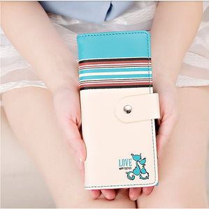 Cat Style Women Wallet Long Female Fashion Purse Coin Purse Credit Card Holder Phone Holder Korean Style Women Clutch - leathernbags