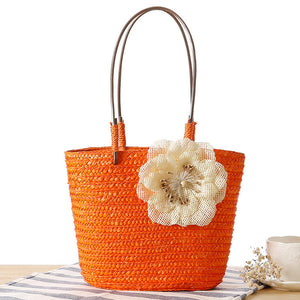 OCEHNUU Small Straw Summer Women Beach Bags Female Weave Flower Women's Shoulder Bags Fashion Ladies Hand Bags Solid Vacation |  USA I USA - leathernbags