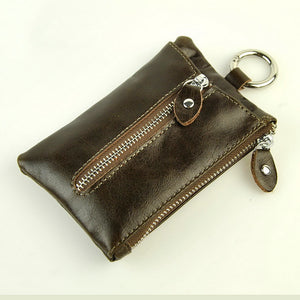 Men Retro Genuine Real Leather KeyChain Wallet Classic Key Holder Zip Coin Change Bag Belt Hook Case Vintage Practical Accessory - leathernbags