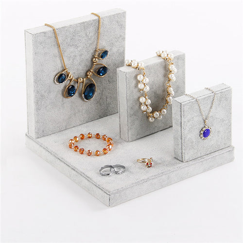 1set Velvet Jewelry Set Display Stand Holder With 4pcs For Earring Ring Pendant Necklace Bangle Bracelet Show New Arrival - leathernbags