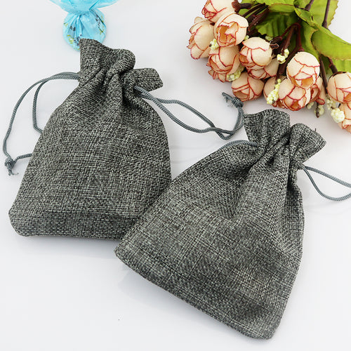 50pcs/lot Small Gray Jute Bag 7*9cm Cute Drawstring Gift Bag Wedding Use Sachet Storage Charms Jewelry Packaging Linen Bags - leathernbags