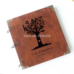 Custom Wedding initials love tree  Leather Guest Book /Personalized Destination Map Album /Wedding Guestbook/ guest book - leathernbags