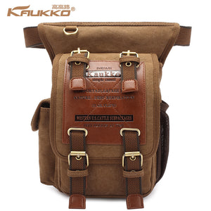 Hot Sale Kaukko MenThick Canvas Travel Shoulder Bags Vintage Unique Messenger Bags Man Cross Body Bag KAUKKO Canvas Leather - leathernbags