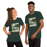 Christian t shirt heather forest with encouragement quote design: I can face my battles with confidence