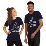 Christian t shirt navy with funny clean joke design: exercise daily walk with the Lord