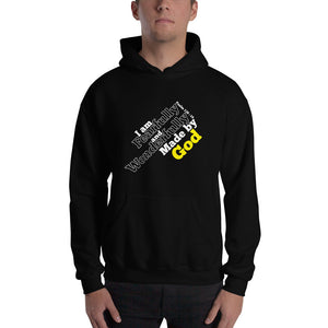 Christian hoodie black with encouraging bible verse design from Psalm 139:14 - I am fearfully and wonderfully made by God