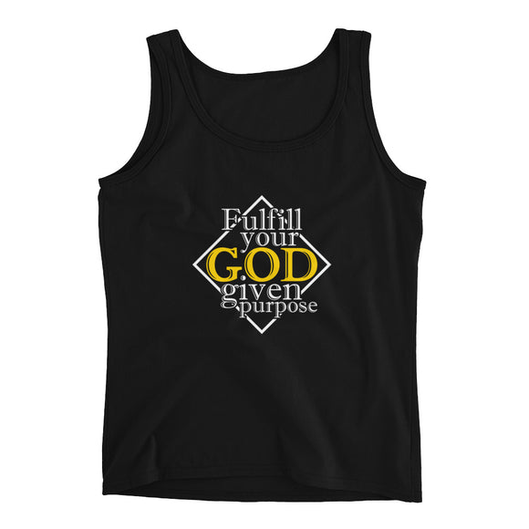 Christian tank top black with encouragement quote design: fulfill your God given purpose