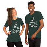 Christian t shirt heather forest with funny clean joke design: exercise daily walk with the Lord