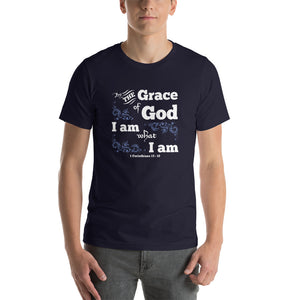 Christian t shirt black with bible verse design from 1 Corinthians 15:10 - by the grace of God I am what I am