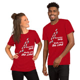 Christian t shirt red with funny clean joke design: exercise daily walk with the Lord