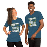 Christian t shirt heather deep teal with encouragement quote design: I can face my battles with confidence