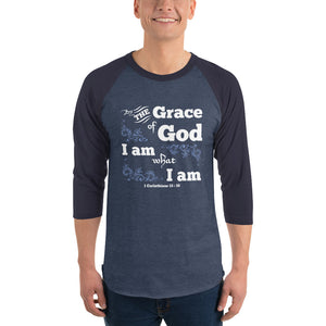 Christian raglan shirt heather denim/navy with bible verse design from 1 Corinthians 15:10 - by the grace of God I am what I am