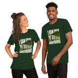 Christian t shirt forest with encouragement quote design: I can face my battles with confidence