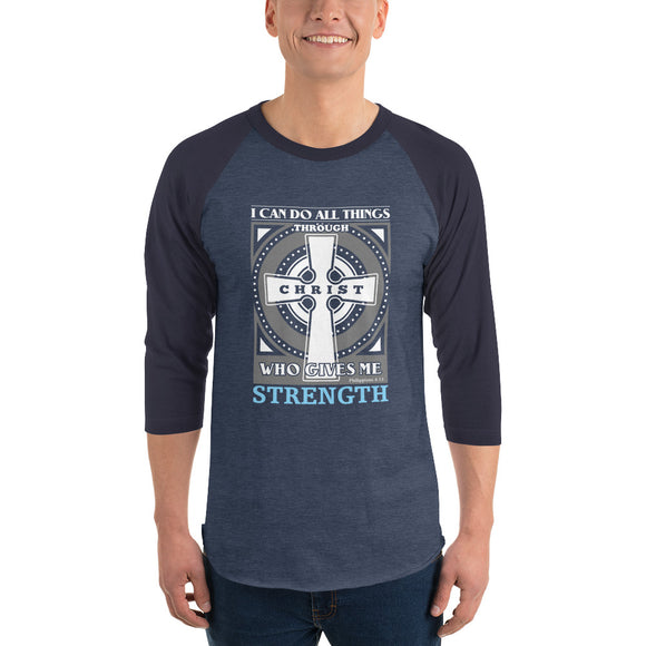 Christian raglan shirt heather denim/navy with encouraging bible verse design from Philippians 4:13 - I can do all things through Christ who gives me strength
