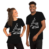 Christian t shirt black with funny clean joke design: exercise daily walk with the Lord