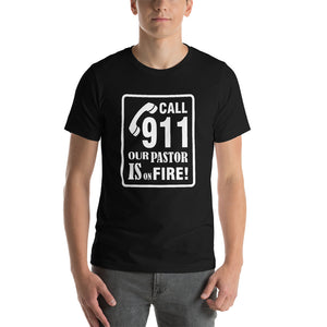 Christian t shirt dark grey heather with funny clean joke design: call 911 our pastor is on fire