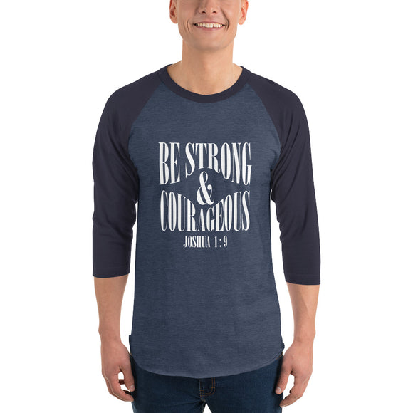 Christian raglan shirt heather denim/navy with bible verse design from Joshua 1:9 - be strong and courageous