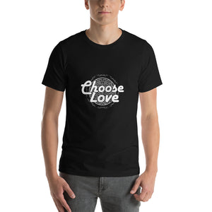 Christian t shirt black with encouraging bible quote design from 1 Corinthians 13 - Choose Love