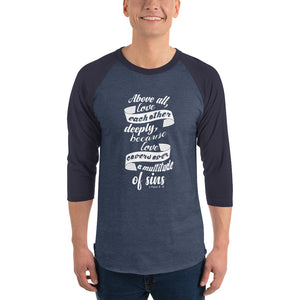 Christian long sleeve t shirt heather denim/navy with bible verse design from 1 Peter 4:8 - Above all love each other deeply because love covers over a multitude of sin
